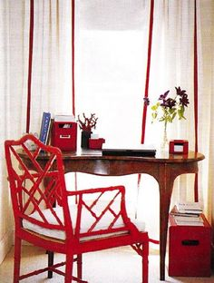 red bamboo chairs