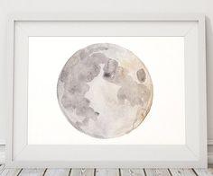 Moon print Moon phase decor Watercolor poster by DeerAndBadgers