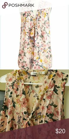 Modcloth Bouquet Thanks Top Beautiful top by Sunny Girl with peonies pattern. Semi sheer. Runs a little big and is very long but overall great top in excellant condition. Worn maybe twice. ModCloth Tops Blouses