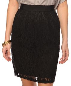 $20 Lace Pencil Skirt in Black from forever21.com