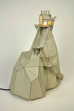 Sculptural Lamps From Recycled Carboard by  artist Vera van Wolferen