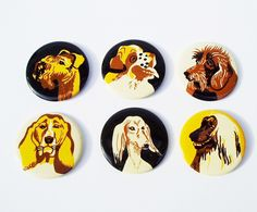Dog pin button Soviet Vintage USSR Badge Pin-back Button Collection Russian design Collectible. via Etsy.