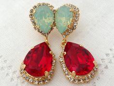 Deep red mint opal Chandelier earrings, Bridal earrings, Drop earrings, Dangle earrings, Weddings jewelry, Estate style Swarovski earrings