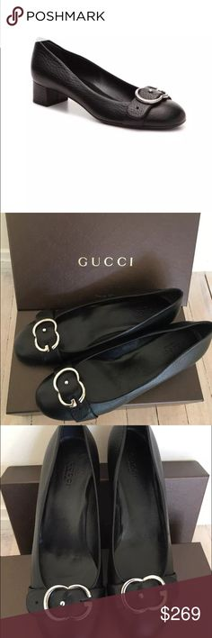 "Brand new Gucci pump Known best for its Italian craftsmanship and elegant style, Gucci is a worldwide legend in designer fashion. With timeless style & iconic appeal, this leather bit pump is the perfect addition to your shoe collection.   Brand new with original box Leather upper Interlocking G hardware with adjustable strap Round toe Fully lined in leather 1½"" block heel Leather sole Made in Italy Gucci Shoes Heels"