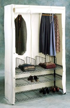 metro shelving with canvas cover for an external closet option