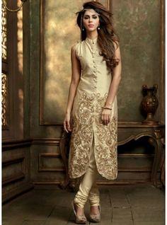 This designer beige shaded semi stitched pure silk salwar kameez-2408