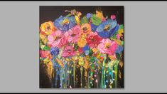 Abstract Colorful Flowers with Gold Accents/ Acrylic Painting for Beginn... Acrylic Painting For Beginners, Painting Tutorials, Palette Knife, Gold Accents, Colorful Flowers, Floral Paintings, Watercolor, Abstract, Acrylics