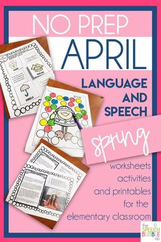 No prep printables for the Spring and April!  Your elementary classroom will love these speech and language activities for your special education, english language arts or speech therapy room!  #TpT #Spring #April #printable #noprep #SLP #ELA #SPED #english