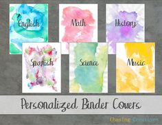 Personalized Watercolor Binder Covers - Notebook Covers - Custom Printable | home binder | printable | organization | binder cover | personalize | ad | #homebinder #printable #organization #bindercover #personalize #ad