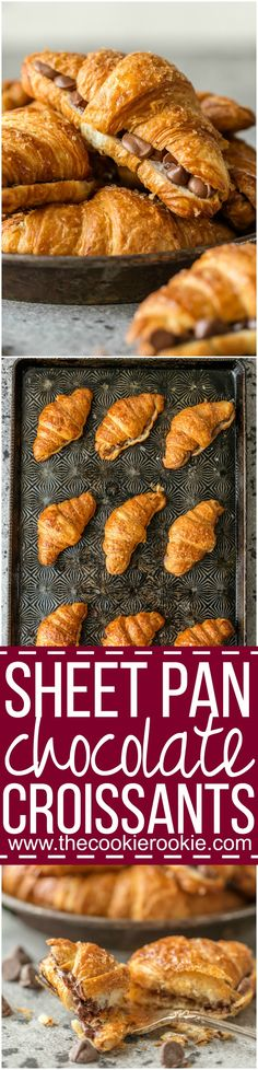 This SHEET PAN CHOCOLATE CROISSANT RECIPE is our favorite way to make a sweet breakfast for a crowd! Such a fun and easy breakfast pastry baked right in your oven. via @beckygallhardin