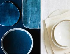 i love the linen texture and saturated color of these indigo ceramics