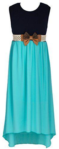 Wonder Girl Big Girls Sleeveless Navy Jacquard Chiffon Long Dress AQUA 10 >>> For more information, visit image link.
