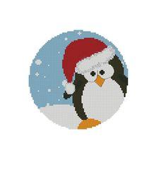 Cross stitch pattern PDF Christmas Penguin Instant Download