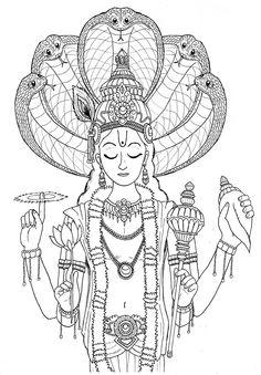 hari-ommm: Drawing of Vishnu I drew a long time ago. Lord Hanuman Wallpapers, Free Adult Coloring, Shiva Wallpaper, Simple Portrait, Nuno Felt Scarf, Indian Art Paintings, Mandala Drawing, Krishna Art, Printed Pages
