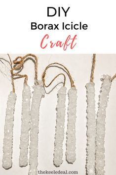 DIY Borax Icicle Craft a fun and easy science project to do with the kids that looks great hanging on the Christmas tree. Diy Christmas Gifts, Christmas And New Year, Holiday Crafts, Christmas Tree, Family Christmas, Fun Diy Crafts, Crafts For Kids, Easy Science Projects, Borax Crystals