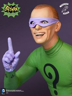 What is he up to now? Limited edition statue of Frank Gorshin as the Riddler. Sculpted in 1:6 scale by Trevor Grove. The base looks like a crossword puzzle and jigsaw pieces! Frank Gorshin's Riddler m