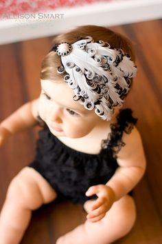 Old Hollywood Feather Headband Black and White