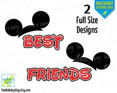 Best Friends Mickey Ears Printable Iron On Transfer or Use as Clip Art - DIY Disney Shirts - 2 Matching Designs Instant Download BFF Shirt
