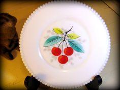 Vintage Milk Glass Cherries Plate with Beaded Edge