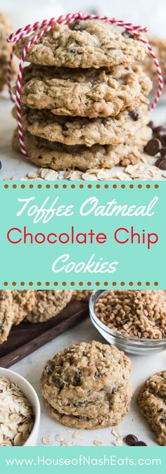 Toffee Oatmeal Chocolate Chip Cookies are hands down the best oatmeal cookie variation there is! Perfectly balanced flavors with caramelized toffee bits and milk chocolate, and always soft & chewy on the inside while barely crisp around the edges. These cookies are impossible to resist! #ChristmasCookies #oatmeal #toffee #milkchocolate #cookies