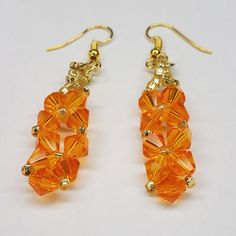 Orange swarovski crystal earrings with gold accents for pierced ears, fashion jewelry, sparkly ear rings, handmade beaded jewelry
