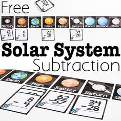 FREE solar system subtraction activity is a fun space theme math activity for 1st grade, 2nd grade, 3rd grade students. Perfect for homeschool, math games, and math centers to make learning fun!