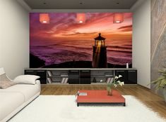 Purple Sky Sunset Self-Adhesive Wall Mural Sea lighthouse Peel & Stick Wallpaper #Unbranded