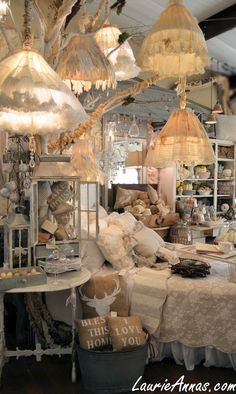 LaurieAnna's Vintage Home, Canton, Texas. Checkout the lampshade in the middle. It's made of dress gloves!