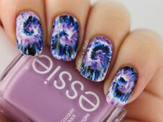 Purple & Blue, Tie-Dye Nails Free hand nail art
