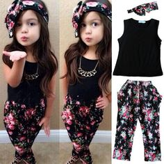 Drop shipping Girls Fashion floral casual suit children clothing set sleeveless outfit +headband 2015 summer new kids clothes se