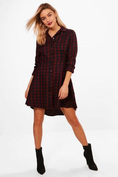 7a0af8d9d860 Boohoo Woven Check Fit & Flare Shirt Dress Berry Size UK 12 rrp 25 DH182 DD  14 #fashion #clothing #shoes #accessories #womensclothing #dresses (ebay  link)