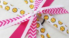 Hot pink softball bow, team bows, chevron pink and white softball ponytail ribbon hair tie, sports, softball hair streamer, fastpitch by BurstingCocoonStudio on Etsy https://www.etsy.com/listing/272007776/hot-pink-softball-bow-team-bows-chevron