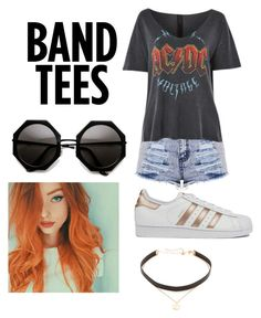 """""""Band tees"""" by caseyanne18 on Polyvore featuring Topshop, adidas and Jennifer Zeuner"""
