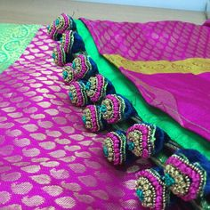 Saree Tassels Designs, Saree Kuchu Designs, Blouse Designs, Dress Designs, Indian Designer Wear, Saree Blouse, Indian Fashion, Designer Dresses, Embroidery