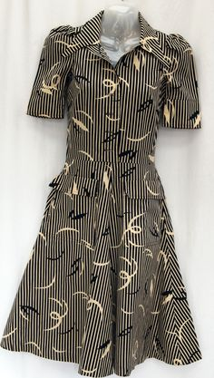 Biba deco print stripe dress