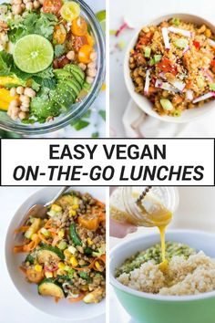 These Easy Vegan On-the-Go Lunches are perfect for work or school! These healthy plant-based recipes will leave you full and satisfied all afternoon long. (Healthy Recipes On The Go) Easy Vegan Lunch, Vegan Lunches, Vegan Meal Prep, Vegan Foods, Vegetarian Lunch Ideas For Work, Vegetarian Breakfast, Breakfast Recipes, Easy Gluten Free Lunches For Work, Vegan Lunch For School