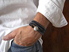 Silver Concho 2 Rows Gunmetal Montana Blue Gl Beads Black Leather Triple Wrap Bracelet Uni