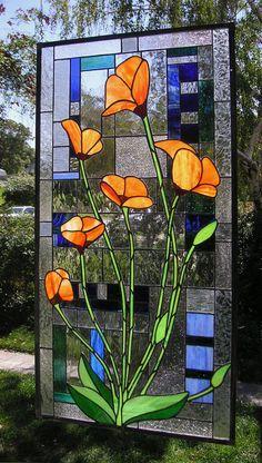 California Poppies With Geometric19 x by StainedGlassArtist WOW!!!