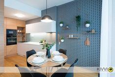 Návrh kuchyne s perforovanou stenou Panorama City, Bratislava, Conference Room, Interior Design, Table, Furniture, Home Decor, Design Interiors, Homemade Home Decor