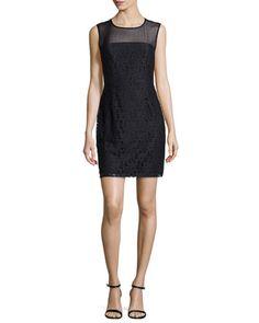 Nisha Sleeveless Illusion Lace Sheath Dress, Black by Diane von Furstenberg    <<  73% OFF >>  3/10/15