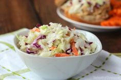Greek Yogurt Coleslaw Recipe {www.TwoHealthyKitchens.com}