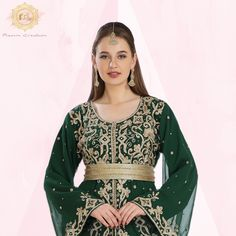 Let them go green with envy! 💚 This 2 piece Kaftan Dress featuring hand Zari Work and bell sleeves is sure to turn heads. Get yours now on our website for your next occasion! Product no: 7839 Bell Sleeves, Bell Sleeve Top, Kaftan Abaya, Henna Party, Elegant Outfit, Envy, Embroidery, Website, Womens Fashion