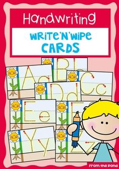 Look at these super-cute write-n-wipe handwriting cards! Love the idea of using flower/stem/roots to help with letter size and proportions. FREE