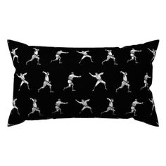 Vintage Baseball Players in White on Black Lumbar Throw Pillow @ Spoonflower #spoonflower #fabric #pillow #pillows #throwpillows #throwpillow #pillows #pillow