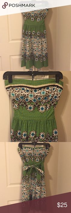 "Strapless Nordstrom sundress Strapless sundress from Nordstrom - brand ""Teeze Me."" Bow in back to adjust for slimmer fit if preferred. Zipper for closure. Adorable for any summer/spring occasion. Size 5. Colors: green, blue, brown, and cream. Nordstrom Dresses"