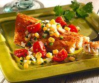 Lake Trout with Corn Salsa. This looks like the salt and pepper trout dish I had at Ted's.