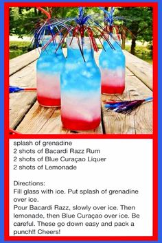 Summer Cookout Food Ideas - red white and blue adult cocktail drinks recipe - great for a 4th of July party - easy food ideas for family summer BBQ cookout or a neighborhood block party