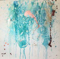 Stunning turquoise, blue, rose gold, painting on canvas 100x100cm Aqua by Aneta Szczepanska Artist #art
