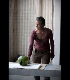 Melissa McBride has fun with a watermelon on the set of 'The Walking Dead,' Season 4