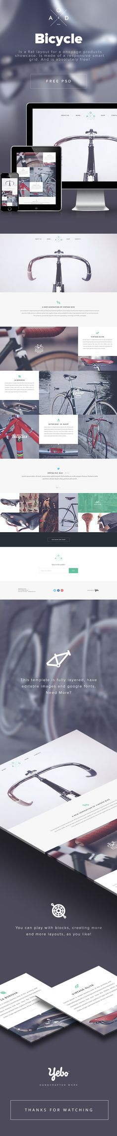 Bicycle Free PSD by Yebo - prikaz sajta Webdesign Inspiration, Web Inspiration, Graphic Design Inspiration, Design Web, Site Design, Flat Design, Website Layout, Web Layout, Layout Design